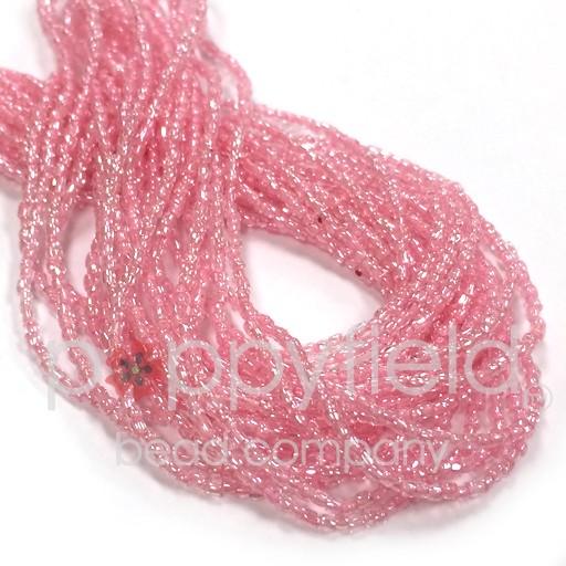 Czech Czech 3CUT, 12/0, Pink Lined Crystal, 17g Hank
