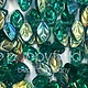 Czech Leaves, 12x7 mm, Emerald AB, 25 pcs