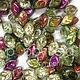 Czech Leaves, 12x7 mm, Vitrail  Jonquil, 25 pcs