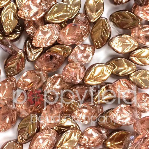 Czech Leaves, 12x7 mm, Apollo Gold, 25 pcs