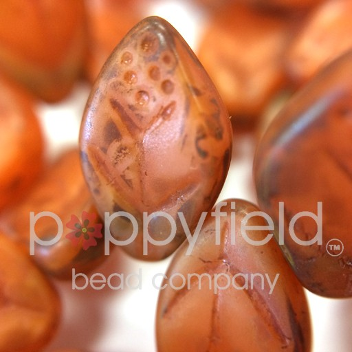 Czech Leaves, 12x7 mm, Matte Picasso Milky Orange, 25 pcs