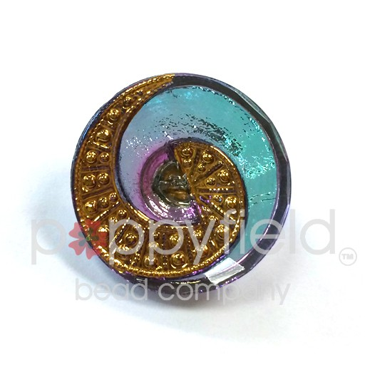 Czech Czech Button, 22 mm, Blue Pink Swirl