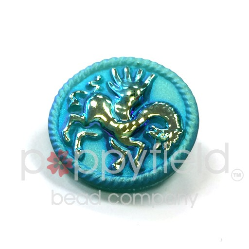 Czech Czech Button, 22 mm, Emerald Blue Horse