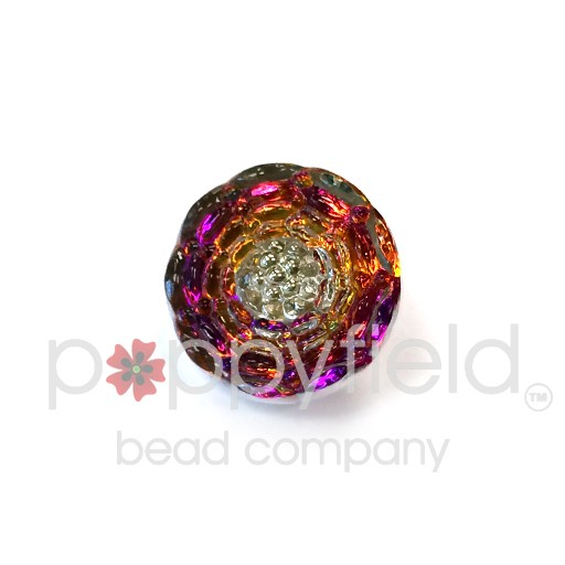 Czech Czech Button, 13 mm, Pink Orange Flower