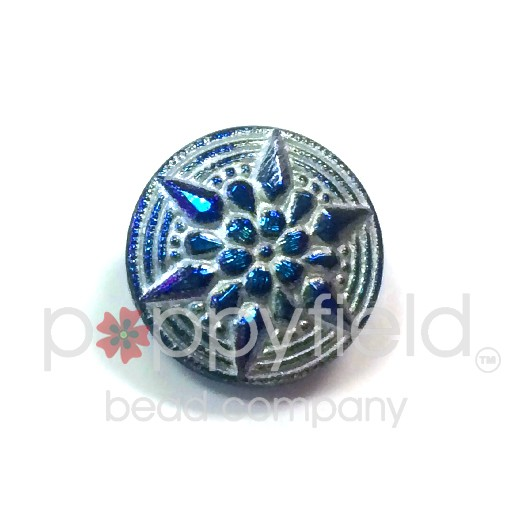 Czech Czech Button, 18 mm, Cobalt Silver Star