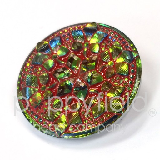 Czech Czech Button, 32 mm, Mandala Red Green