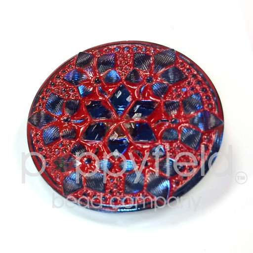 Czech Czech Button, 32 mm, Mandala Red Blue