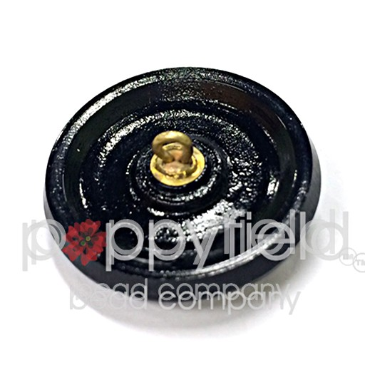 Czech Czech Button, 32 mm, Black Gold Bloom