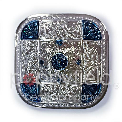 Czech Czech Button, 33 mm, Blue Square