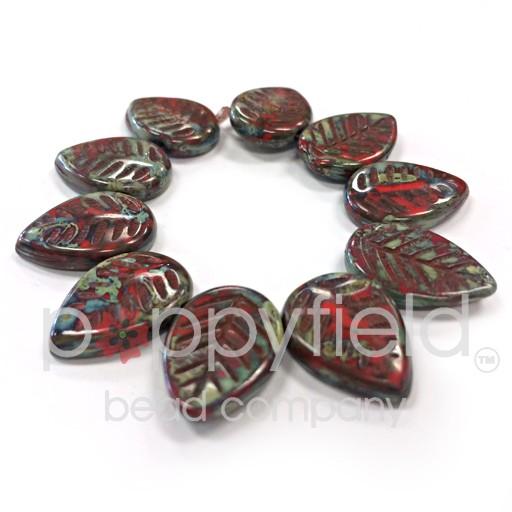 Czech Flat Leaves, 16x12 mm, Scarlet Picasso, 10 pcs