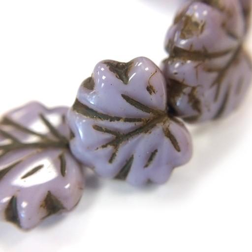 Czech Maple Leaves, 10x13 mm, Lavender, 20 pcs