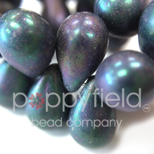 Czech Czech Drops, 6x9 mm, Mix Matte Purple, 50 pcs