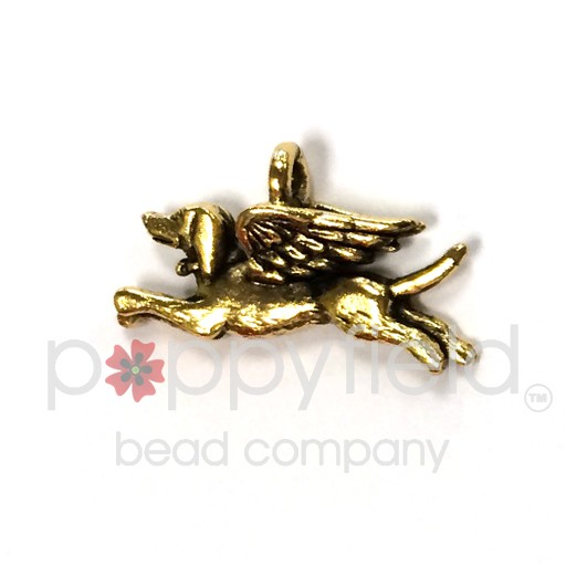 Dog Angel Charm, Gold Plate (2-Sided)