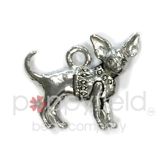Chihuahua Charm, Pewter (two-sided)
