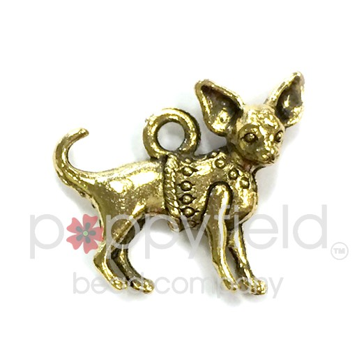 Chihuahua Charm, Gold Plate (2-Sided)