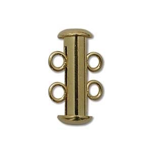 Chinese 2-Stand Clasp, Gold Plate, 16 mm