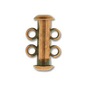 Chinese 2-Stand Clasp, Antique Copper, 16 mm