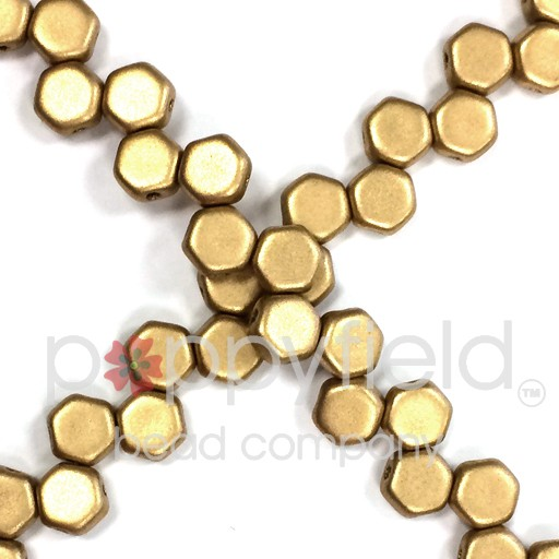 Czech 2-hole Honeycomb, 6 mm, Crystal Bronze Pale Gold, 30 pcs/strand