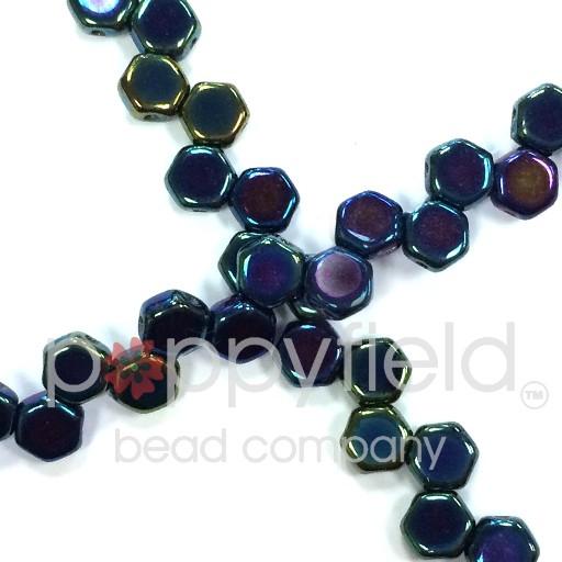 Czech 2-hole Honeycomb, 6 mm, Jet Blue Iris, 30 pcs/strand