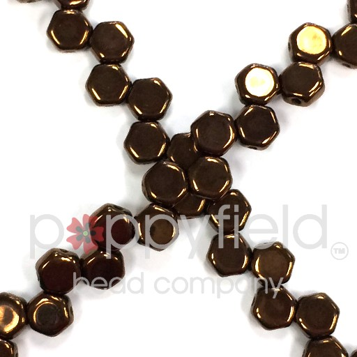 Czech 2-hole Honeycomb, 6 mm, Jet Bronze, 30 pcs/strand