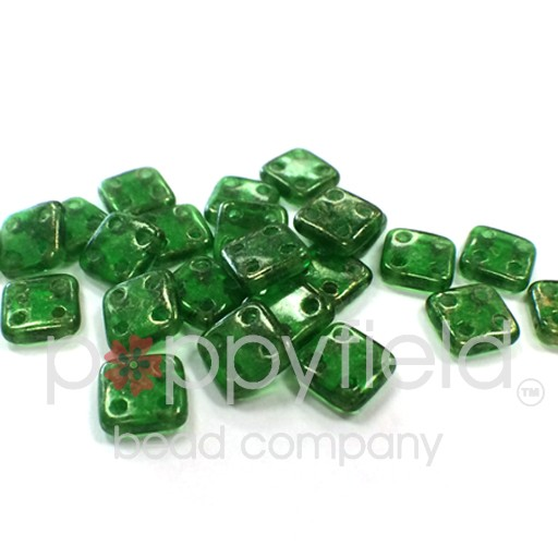 Czech 4 Holed Tile Beads, 6 mm, Gold Marbled Green Emerald, 10g (approx. 75 pcs.)