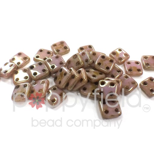 Czech 4 Holed Tile Beads, 6 mm, Luster Opaque Rose Gold, 10g (approx. 75 pcs.)