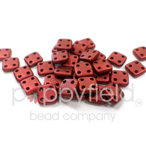 Czech 4 Holed Tile Beads, 6 mm, Matte Metallic Lava, 10g (approx. 75 pcs.)