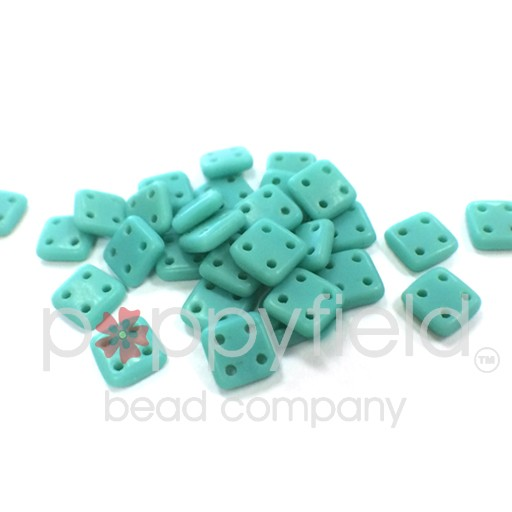 Czech 4 Holed Tile Beads, 6 mm, Matte Turquosie, 10g (approx. 75 pcs.)