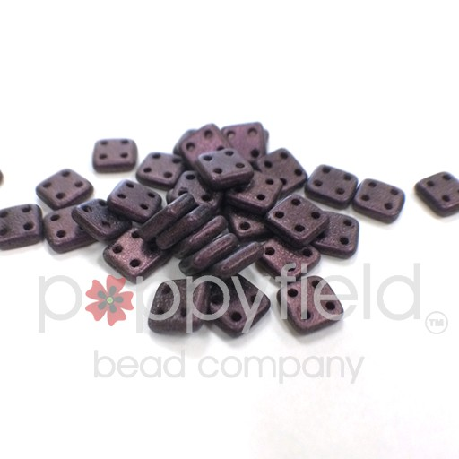 Czech 4 Holed Tile Beads, 6 mm, Metallic Suede Pink, 10g (approx. 75 pcs.)
