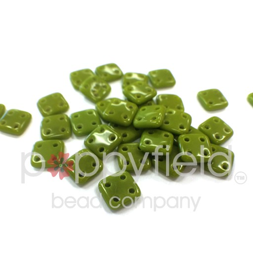 Czech 4 Holed Tile Beads, 6 mm, Opaque Olive, 10g (approx. 75 pcs.)