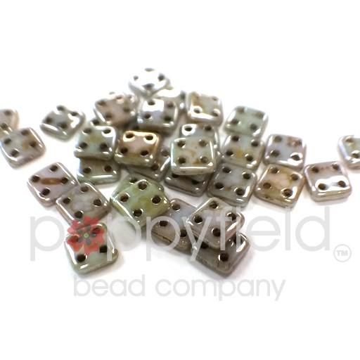 Czech 4 Holed Tile Beads, 6 mm, Opaque Ultra Luster Green, 10g (approx. 75 pcs.)