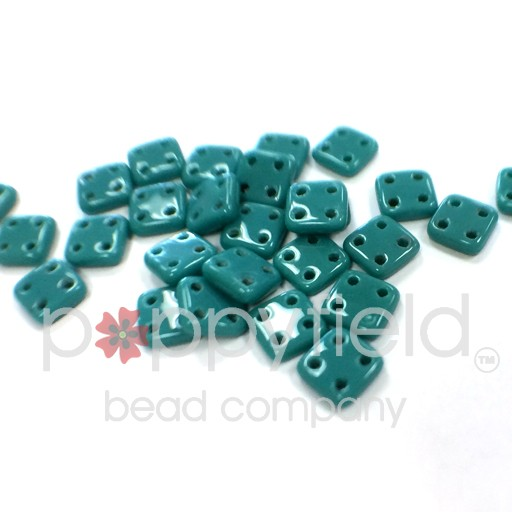 Czech 4 Holed Tile Beads, 6 mm, Persian Turquosie, 10g (approx. 75 pcs.)