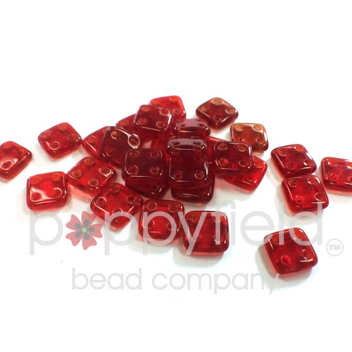 Czech 4 Holed Tile Beads, 6 mm, Siam Ruby, 10g (approx. 75 pcs.)