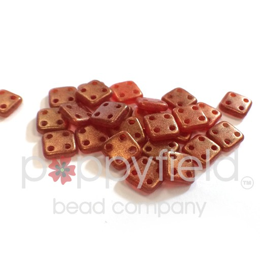 Czech 4 Holed Tile Beads, 6 mm, Sueded Gold Ruby, 10g (approx. 75 pcs.)