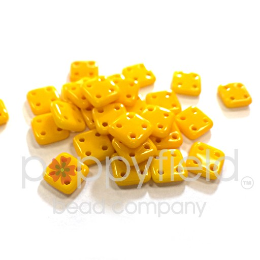 Czech 4 Holed Tile Beads, 6 mm, Sunflower Yellow, 10g (approx. 75 pcs.)