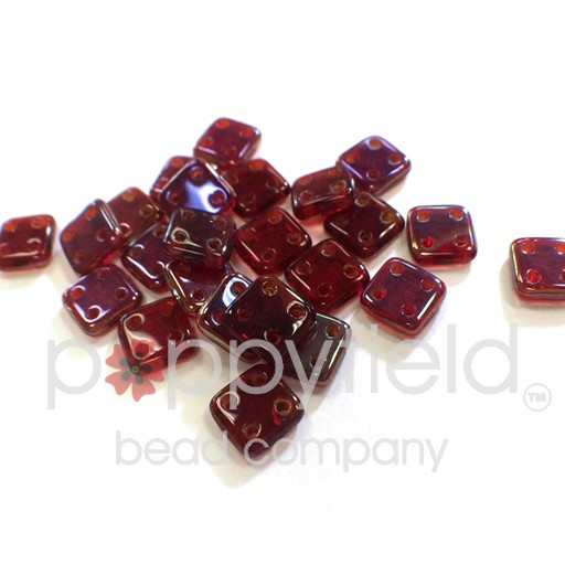 Czech 4 Holed Tile Beads, 6 mm, Twilight Siam Ruby, 10g (approx. 75 pcs.)