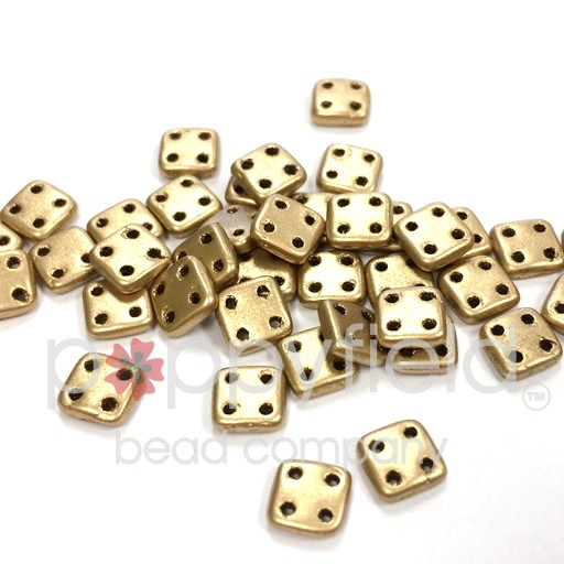 Czech 4 Holed Tile Beads, 6 mm, Matte Metallic Flax, 10g (approx. 75 pcs.)