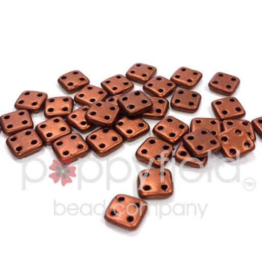 Czech 4 Holed Tile Beads, 6 mm, Matte Metallic Antique Copper, 10g (approx. 75 pcs.)
