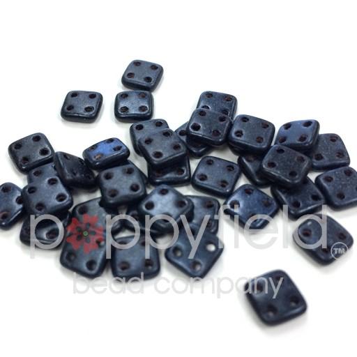 Czech 4 Holed Tile Beads, 6 mm, Metallic Suede Dark Blue, 10g (approx. 75 pcs.)