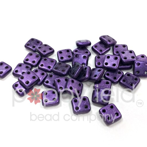 Czech 4 Holed Tile Beads, 6 mm, Metallic Suede Purple, 10g (approx. 75 pcs.)