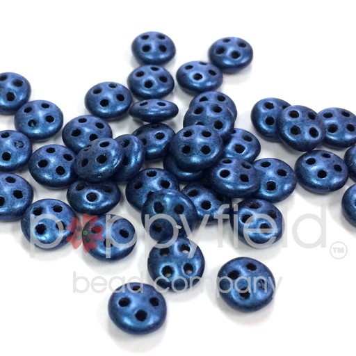 Czech 4-Hole Lentil Beads, 6 mm, Metallic Suede Blue, 10g (approx. 80 pcs.)
