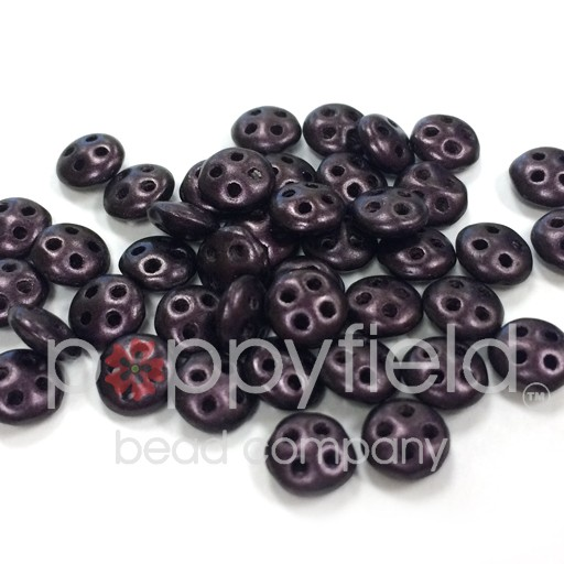 Czech 4-Hole Lentil Beads, 6 mm, Metallic Suede Dark Plum, 10g (approx. 80 pcs.)