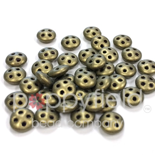 Czech 4-Hole Lentil Beads, 6 mm, Metallic Suede Gold, 10g (approx. 80 pcs.)