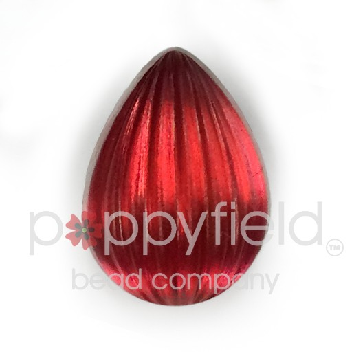 Czech Cab, Ribbed Pear Cabochon, 18 x 13mm, Matte Rose