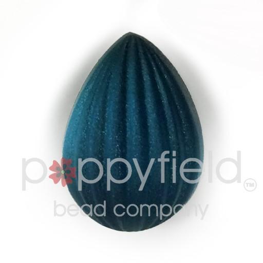 Czech Cab, Ribbed Pear, 18 x 13mm, Matte Montana Blue