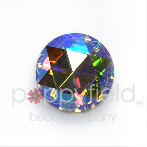 Czech Crystal Cabochon, Faceted Round, 15 mm, Crystal AB