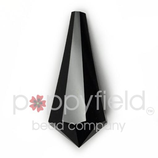 Czech Crystal Chandelier Pendant Drop, Pear-Shaped, 32x14 mm, Jet