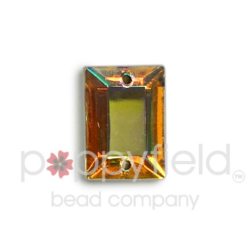 Czech Glass Sew-On, Faceted Rectangle, 2-Hole, 14x10 mm, Crystal AB