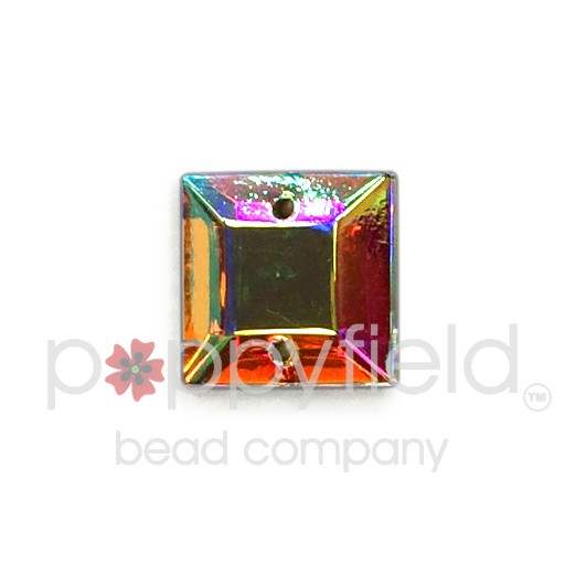 Czech Glass Sew-On, Faceted Square, 2-Hole, 12 mm, Crystal AB
