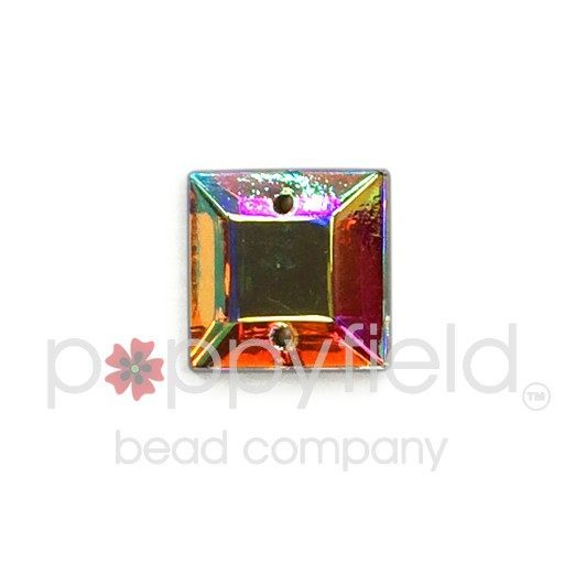 Czech Glass Sew-On, Faceted Square, 2-Hole, 10 mm, Crystal AB